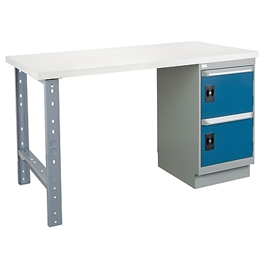 Kleton Workbench, Plastic Laminate Top, 1 Pedestal and 2 Doors