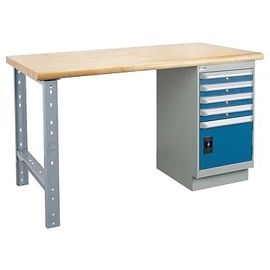 Kleton Workbench, Laminated Top, 1 Pedestal, 4 Drawers and 1 Door