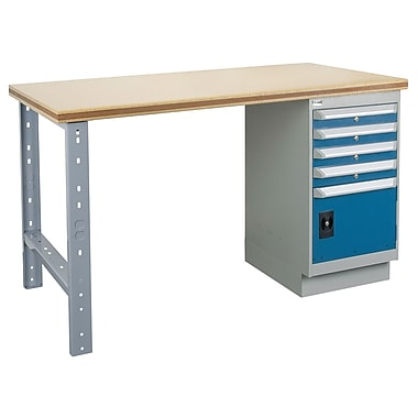 Kleton Workbench, Shop Top, 1 Pedestal, 4 Drawers and 1 Door