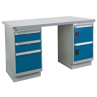 Kleton Workbench, Wood Filled Steel Top, 2 Pedestals, 3 Drawers and 2 Doors