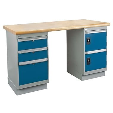Kleton Workbench, Laminated Top, 2 Pedestals, 3 Drawers and 2 Doors