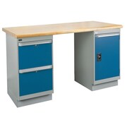 Kleton Workbench, Laminated Top, 2 Pedestals, 2 Drawers and 1 Door