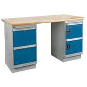 Kleton Workbench, Laminated Top, 2 Pedestals, 2 Drawers and 2 Doors