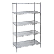 """Kleton Chromate Wire Shelving, 4 Shelves with Starter Unit, 14""""D x 63""""H x 30""""W"""