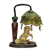 "Sterling Industries Rabbit Under Leaf 58291-2979 13"" Decorative Table Lamp, Antique White/Green"