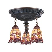 "Elk Lighting Mix-N-Match 582997-AW-179 16"" 3 Light Semi Flush Mount, Floral Garden Tiffany Shade"