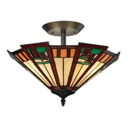 "Elk Lighting Oak Bridge 58270116-39 12"" 3 Light Semi Flush Mount, Tiffany Bronze"