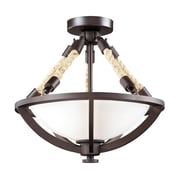 "Elk Lighting Natural Rope 58263011-29 14"" 2 Light Semi Flush Mount, Aged Bronze"
