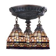 "Elk Lighting Mix-N-Match 582997-AW-109 16"" 3 Light Semi Flush Mount, Jewel Stone Tiffany Shade"
