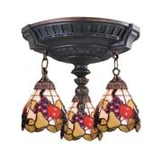 "Elk Lighting Mix-N-Match 582997-AW-199 16"" 3 Light Semi Flush Mount, Fruit Tiffany Shade"