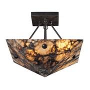 """Elk Lighting Imperial Granite 5829004-49 14"""" 4 Light Semi Flush Mount, Antique Brass"""