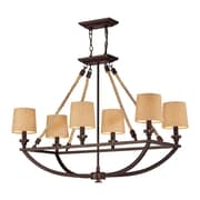 "Elk Lighting Natural Rope 58263019-69 31"" 6 Light Chandelier, Aged Bronze"