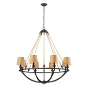 "Elk Lighting Natural Rope 58263017-89 44"" 8 Light Chandelier, Aged Bronze"