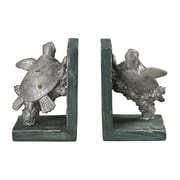 Sterling Industries 58287-80159 Set of 2 Swimming Turtle Decorative Bookends, Gannon Green/Silver