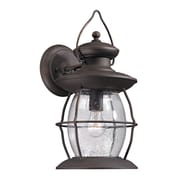 "Elk Lighting Village Lantern 58247042-19 17"" x 8"" 1 Light Armed Sconce, Weathered Charcoal"