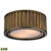 "Elk Lighting Linden 58246120-2-LED9 5"" 2 Light Flush Mount, Aged Brass"