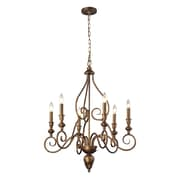 "Elk Lighting Hamilton 58231392-69 32"" 6 Light Chandelier, Mocha"