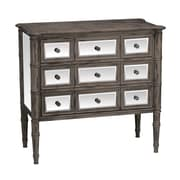 Sterling Industries Cheval 58284-00119 9 Drawers Accent Chest, Distressed Black/Mirror