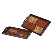 Sterling Industries 582118-0049 Quartered Trays, Set of 2, Tan