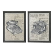 Sterling Industries Dunrea House Antique Typewriter - Set of 2 Framed Wall Art, 16H x 12W