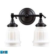 "Elk Lighting Quinton Parlor 58266212-2-LED9 12"" x 13"" 2 Light Vanity, Oiled Bronze"