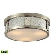 """Elk Lighting Diamond Plate 58231422-3-LED9 5"""" 3 Light Flush Mount, Brushed Nickel"""