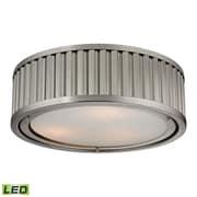 """Elk Lighting Linden 58246111-3-LED9 5"""" 3 Light Flush Mount, Brushed Nickel"""