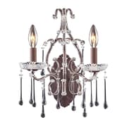"Elk Lighting Opulence 5824010-2CL9 15"" x 12"" 2 Light Candle Sconce, Clear Crystal"