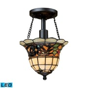 "Elk Lighting Tiffany Buckingham 58270021-1-LED9 11"" 1 Light Semi Flush Mount, Vintage Antique"