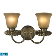 "Elk Lighting Ventura 58211424-2-LED9 10"" x 18"" 2 Light Vanity, Antique Brass"