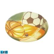 "Elk Lighting Kidshine 582206-SP-LED9 6"" 3 Light Semi Flush Mount, Sports Shade"