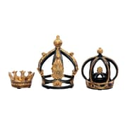 """Sterling Industries 58291-00139 8"""" Set of 3 Crowns Sculpture, Gold"""