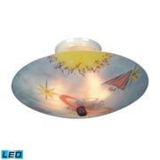 "Elk Lighting Kidshine 582201-GE-LED9 6"" 3 Light Semi Flush Mount, Galactic Explorer Shade"
