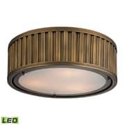 "Elk Lighting Linden 58246121-3-LED9 5"" 3 Light Flush Mount, Aged Brass"