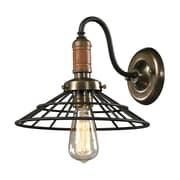 "Elk Lighting Spun Wood 58214230-19 10"" x 11"" 1 Light Wall Sconce, Vintage Rust"