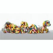 "Yosemite Home Decor Cotton & Canvas Artwork Patchwork Puppies Original Painting 28"" x 55"""
