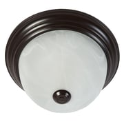 "Yosemite Home Decor 5.75"" x 10"" Metal Flush Mount with White Marble Glass Shade, Oil Rubbed Bronze"