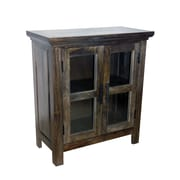 Yosemite Home Decor 2 Door Wood, Glass & Metal Cabinet