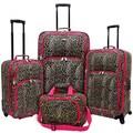 U.S. Traveler Fashion 4 Piece Spinner Luggage Set I; Leopard