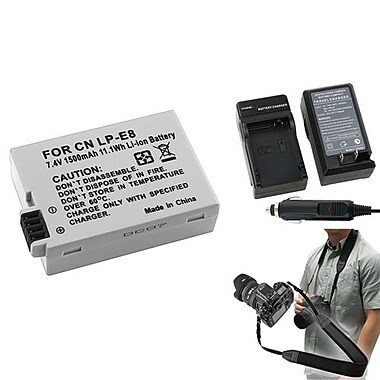 Insten® 352904 3-Piece DV Battery Bundle For EOS Rebel T2i/Canon LP-E8