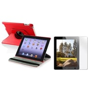 Insten 410737 Leather Swivel Stand Case for Apple iPad 2/3/4 Tablet, Red