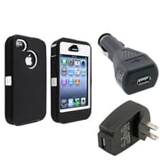 Insten® 752818 3-Piece iPhone Car Charger Bundle For Apple iPhone 4/4S