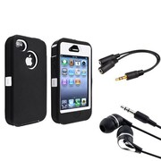 Insten® 902156 3-Piece iPhone Headset Bundle For Apple iPhone 4/4S