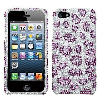 Insten® Diamante Protector Cover F/iPhone 5/5S, Purple Leopard Skin