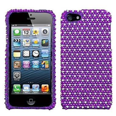 Insten® Diamante Phone Protector Cover F/iPhone 5/5S, Purple/White Dots