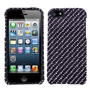 Insten® Diamantes Phone Protector Cover F/iPhone 5/5S, Purple/Black