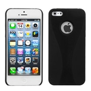 Insten® Wave Rubberized Phone Back Protector Cover F/iPhone 5/5S, Black/Black