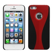 Insten® Wave Rubberized Phone Back Protector Cover F/iPhone 5/5S, Red/Black