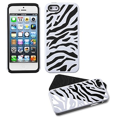 Insten® Fusion Protector Cover F/iPhone 5/5S, Natural Ivory White Zebra Skin/Black
