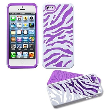 Insten® Fusion Protector Cover F/iPhone 5/5S, Natural Ivory White Zebra Skin/Electric Purple